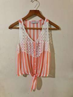Just G. Laced stripe Tied Top