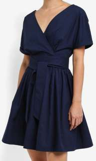 Wrap Front Fit and Flare Dress