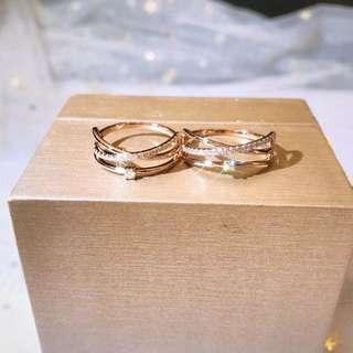 18K金交叉鑽石戒指女戒