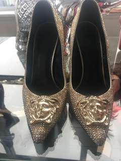 Versace Swarovski Medusa head gold heels