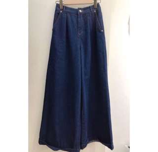深藍色中高腰牛仔寬褲