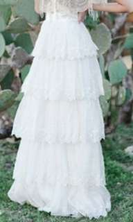 Brand New! Ivory Lace Tiered Skirt