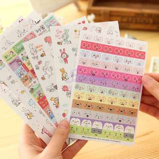 (Set of 6) Bunnies in Glasses Scrapbook / Planner Stickers #126