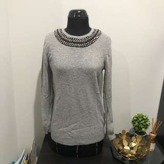 TOPSHOP Grey wool sweater with studs details