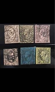 Saxony 1851 imperf King stamps 6v rare