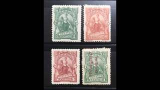 Nicaragua stamps very early group (paper stuck gum side)
