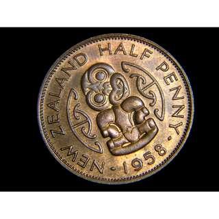 1958年英屬紐西蘭毛里族吉祥獸玉珮1/2便士銅幣(英女皇伊莉莎伯二世像, 原光好品)