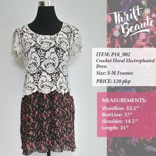 Crochet Floral Electropleated Dress