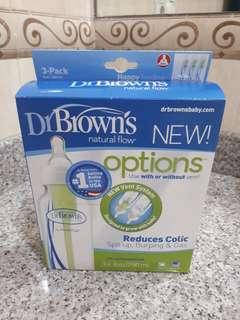 Dr Brown's Natural Flow Narrow (Standart Neck) Feeding Bottle 250 ml / 8 oz isi 3 pcs