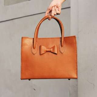 Brown Genuine Leather Structured Bag