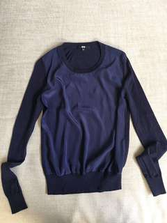 Uniqlo Blue Long Sleeved Silk Top