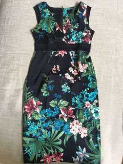 Dorothy Perkins Black with Floral Prints Sleeveless Dress with