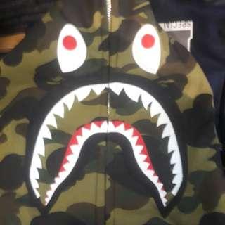 #mausupreme a bathing ape camo shark hoodie