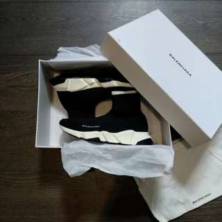 (Best Seller) Balenciaga Mid Top Speed Trainer Core Black White