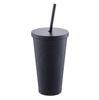 Starbucks 16oz Stainless Steel Black Matte Deboss Sirens Cold Cup