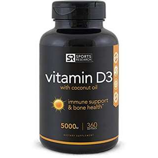 [IN-STOCK] Sports Research High Potency Vitamin D3 (5000iu) enhanced with Coconut Oil for Better Absorption ~ Bone, Joint and Immune system support ~ Non-GMO & Gluten Free, 360 Mini Liquid Softgels - Made in USA