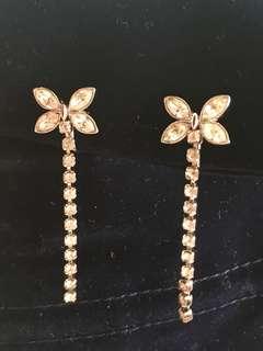 Swarovski水晶垂吊耳夾耳環,銀色