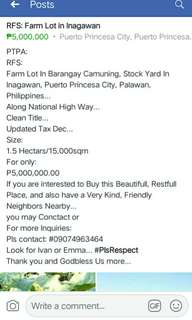 RFS: Farm Lot in Barangay Inagawan