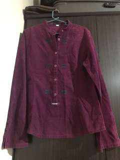 E and You purple corduroy shirt