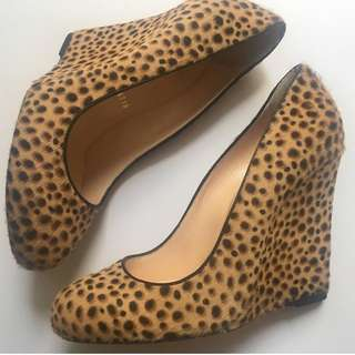 Christian Louboutin Cheetah Print Pony Hair Wedge - Size 36