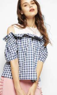Cotton Ink - gingham cold shoulder blouse