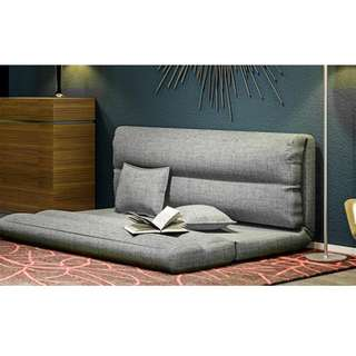 日式折疊可拆洗午睡榻榻米單人懶人沙發床灰色/玫紅色2人款