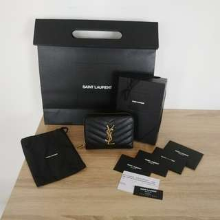 AUTHENTIC NEW YSL COMPACT ZIP AROUND WALLET IN TEXTURED MATELASSÉ LEATHER