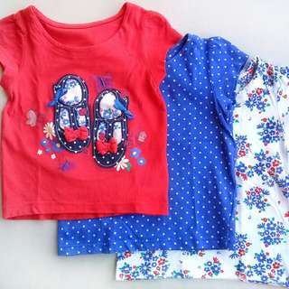 MOTHERCARE 3 PIECE INFANT SHIRTS SET SIZE 9 MONTHS TO 12 MONTHS (RED, POLKA DOT BLUE, FLORAL)