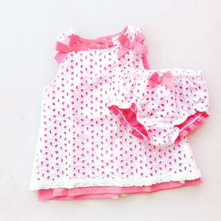SAVANNAH BABY EYELET SLEEVELESS TOP AND BOTTOM SET SIZE 3 MONTHS TO 6 MONTHS (CORAL)