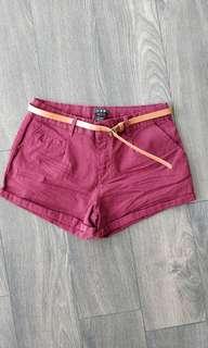 Burgandy Shorts w/ Belt