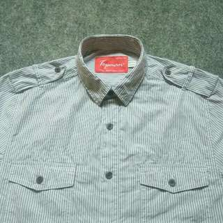 TOPMAN Pinstriped Western Workshirt Short Sleeve Size S