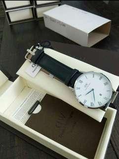 Daniel Wellington Dapper Bristol Silver, white Dial / Black Strap Wristwatch