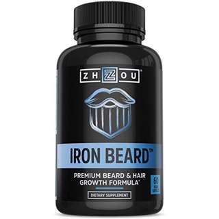 [IN-STOCK] IRON BEARD Beard Growth Vitamin Supplement for Men - Fuller, Thicker, Manlier Hair Growth - 18 Essential Vitamins, Minerals & Proteins - Biotin, Collagen, Saw Palmetto & More - 60 Capsules