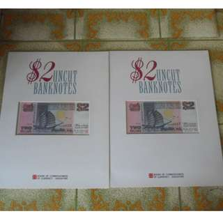 2run Singapore Ship Series 3-in-1 $2 Uncut BankNotes