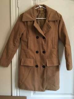 Korean beige brown thick felt trench coat