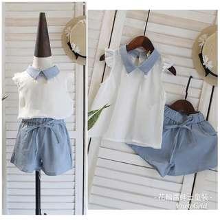 🚚 雪纺背心+蝴蝶结短裤清凉两件套装