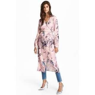 H&M Pink satin floral wrap dress
