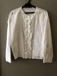 Mango White Lace Blouse Size S