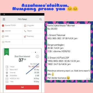 Kuota injeksi Telkomsel 37 GB full 24 jam