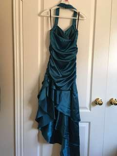 Formal prom grad dress satin blue turquoise asymmetrical