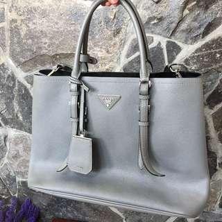 PRADA Gray Saffiano Bag