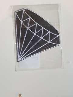 Iron on Clothing patch black diamond