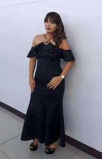 Black Neoprene Off Shoulder Mermaid Dress