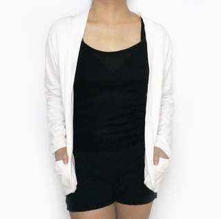 White Side Pockets Cardigan