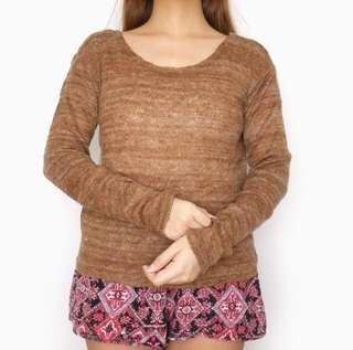 Brown Longsleeves Pullover Sweater Top