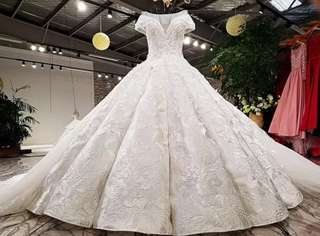 Luxury word shoulder trailling Wedding Dress(customize)