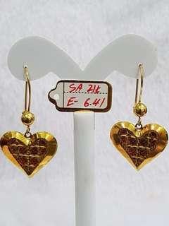 Pure 21k saudi gold earing