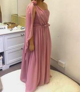 Greyish Pink Bridesmaid Dress with Flexible Back Straps