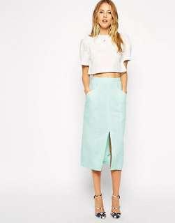 Asos Linen Split Front Pencil Skirt