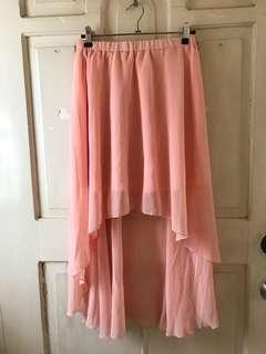 Chiffon peach hi low skirt